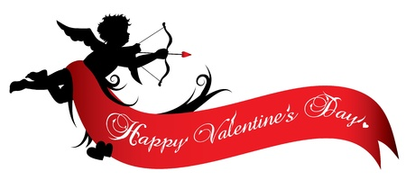 Cupid silhouette with red ribbon isolated on white background Vector