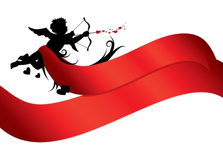 valentines card: Cupid silhouette with red ribbons isolated on white background