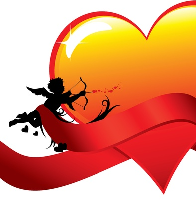Cupid silhouette with ribbons anda big glossy heart illustration.  Vector