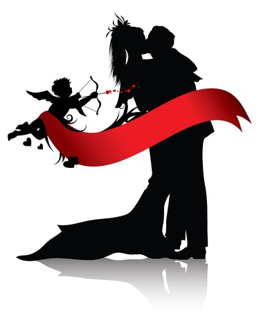 newlywed: Silhouettes of couple and cupid with red banner isolated on white background.You can find similar images in portfolio