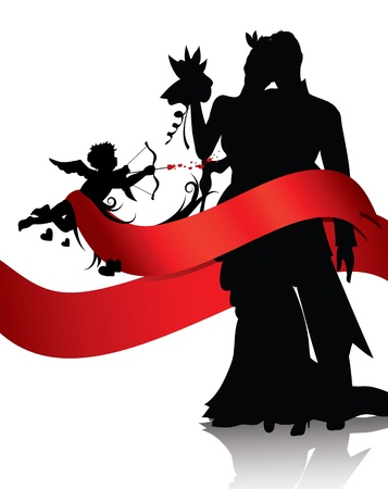 bride groom silhouette: Silhouettes of couple and cupid with red banner isolated on white background.You can find similar images in portfolio
