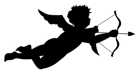 Cupid silhouette isolated on white background Stock Vector - 8579249