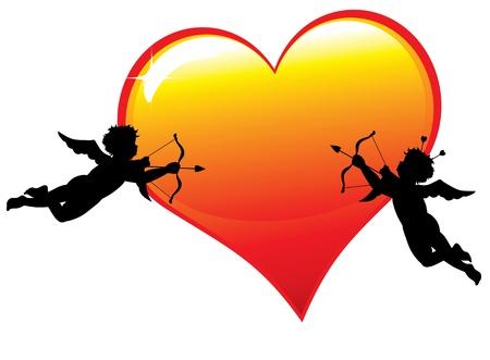 Twee cupid silhouetten met hart Vector Illustratie