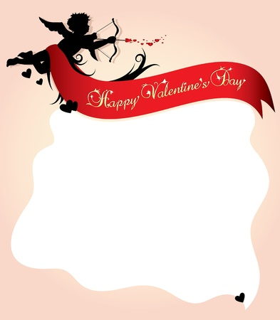 Cupid silhouette with red ribbon and background illustration