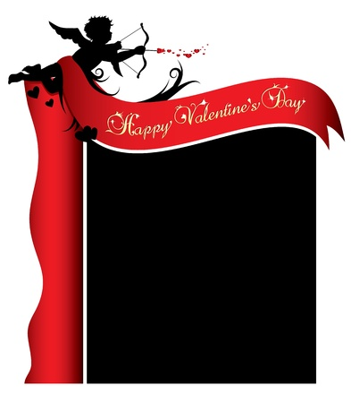 Cupid silhouette with red ribbon and background illustration Vector