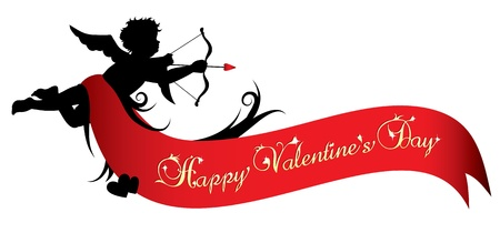 valentines holiday: Cupid silhouette with red ribbon isolated on white background Illustration