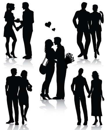 romantic: Couple silhouettes isolated on white background