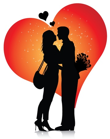 romantic date: Couple silhouette with hearts isolated on white background Illustration