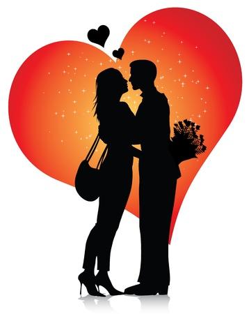 innamorati che si baciano: Silhouette di coppia con cuori isolato su sfondo bianco