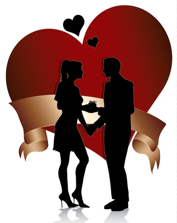 A man proposing marriage to  woman with gift box.Couple silhouette with  heart and ribbon isolated on white background