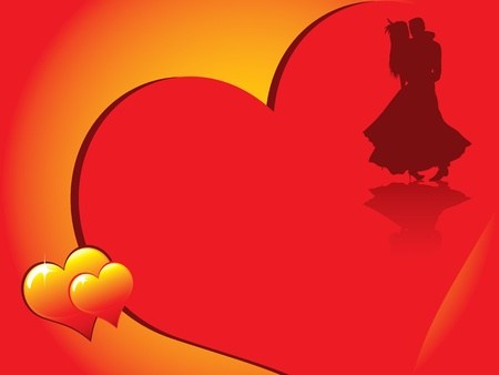 Valentines day card with romentic couple silhouette and beautiful glowing hearts Vector