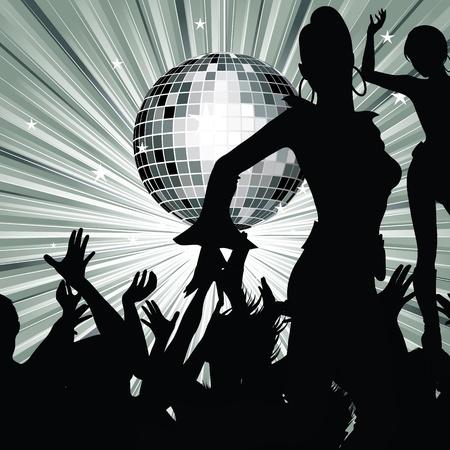 retro disco: Baile de siluetas de personas