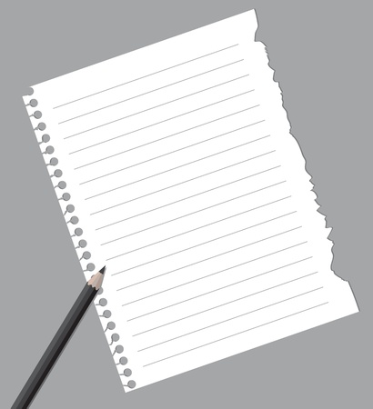 Notebook paper with pencil Stock Vector - 8693063