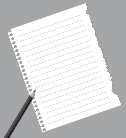 pencil paper: Papel de cuaderno con l�piz