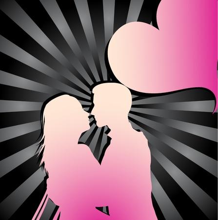 innamorati che si baciano: Coppia romantica silhouette  Vettoriali