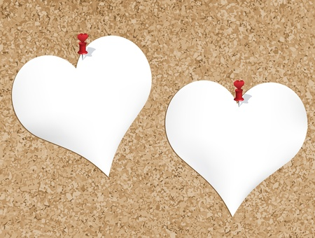 Cork bulletin board with heart shaped notepads Stock Vector - 8693060