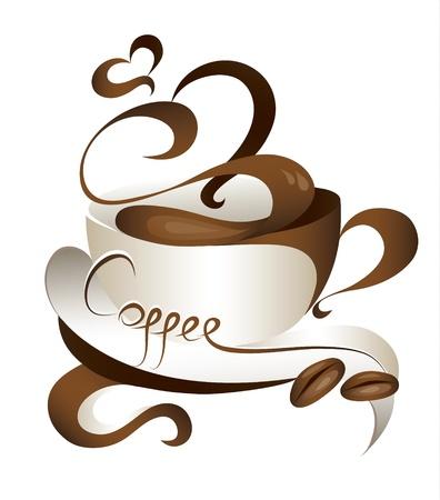 capuchino: Ilustraci�n de taza de caf� con estilo  Vectores