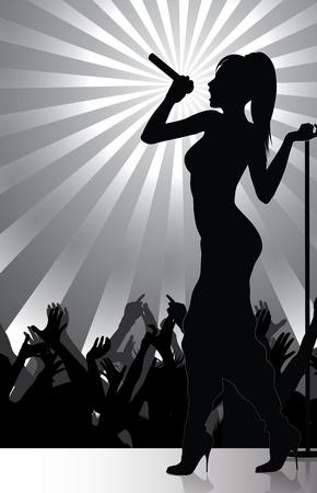 cantante tocando en el escenario con la multitud animando