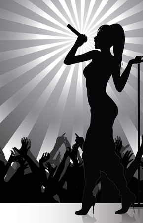 sexy woman silhouette: pop singer performing on stage with crowd cheering