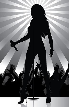 Pop-Sänger auf der Bühne mit jubelnden Menge durchführen  Vektorgrafik