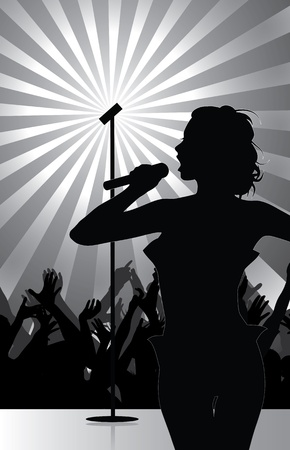 karaoke: pop singer performing on stage with crowd cheering