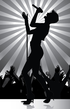 pop singer performing on stage with crowd cheering  Stock Vector - 8818523