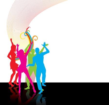 chicas bailando: Baile silhoettes gente feliz Vectores