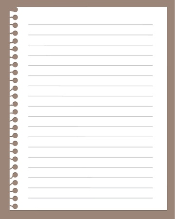 spiral notebook page isolated on brown    Illustration