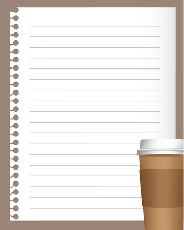 notebook paper with coffee or tea cup Stock Vector - 8984182