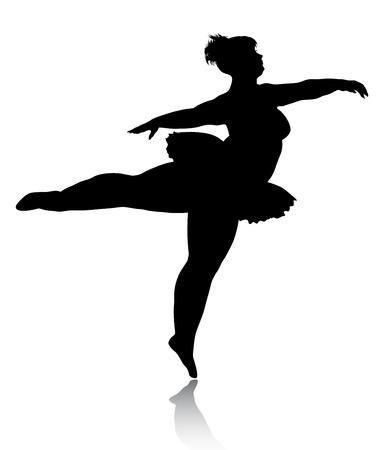 Overgewicht ballerina silhouet  Vector Illustratie