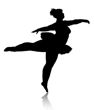 plus size woman: Overweight ballerina silhouette