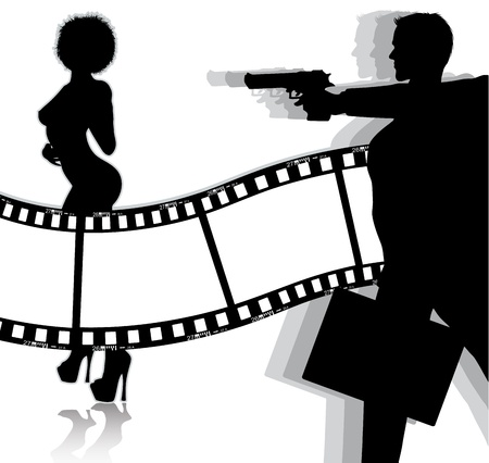 woman with gun: movie background   Illustration