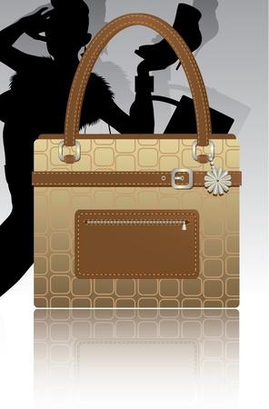 leather goods: Womans footwear and handbag vector illustration