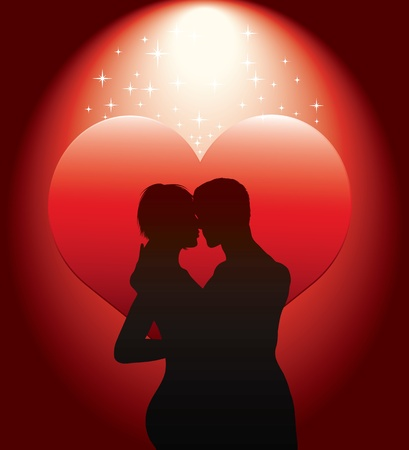 sexy couple silhouette with red heart Stock Vector - 9151118