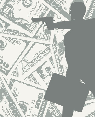 silhouette of a man on grungy dollars background with gun and a bag full of money  Vector