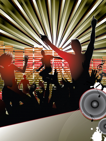 Silhouettes of young people dancing with the dj at the party Stock Vector - 9293826