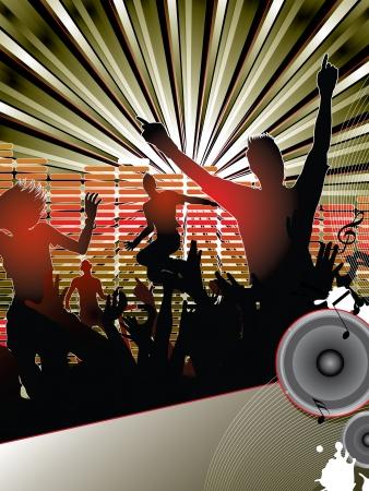 speaker box: Siluetas de j�venes bailando con el dj en la fiesta