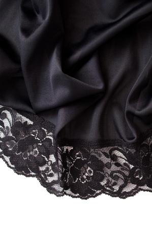black satin: satinado con borde de encaje negro