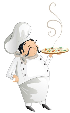 moustaches: chef with pizza