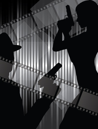 actors: actor silhouettes with gun  and abstract background with filmstrips