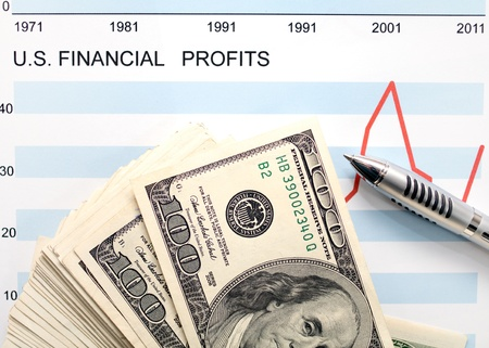 dollars with document showing us financial profits photo