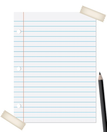 notebook paper background: lined paper with pencil and tapes isolated on white background
