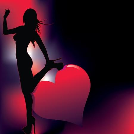 meisje silhouet: sexy meisje silhouet met abstracte achtergrond