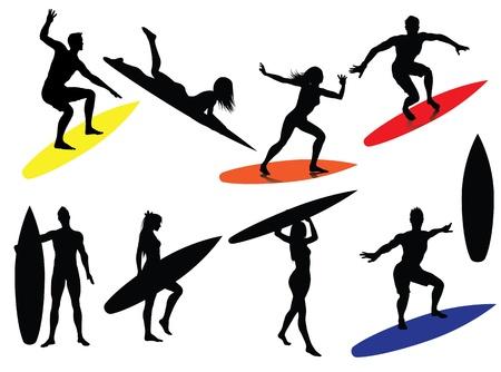 chica surf: Siluetas de surf aisladas sobre fondo blanco