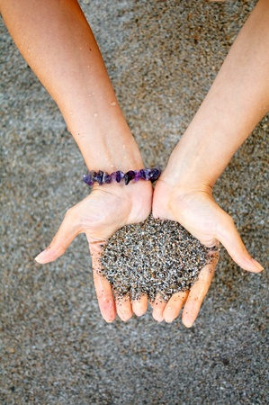 wristlet:  hands with wet sand