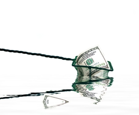 working animal: fishing net with money and water,conceptual photo Stock Photo