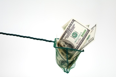 fees: money in fishing net Stock Photo