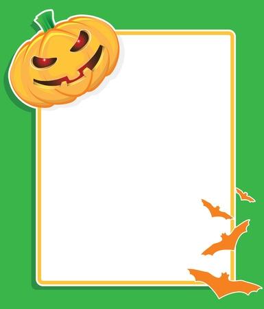pumpkin border: halloween background with pumpkin and bats