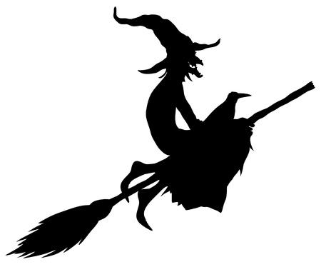 escoba: silueta de bruja de Halloween