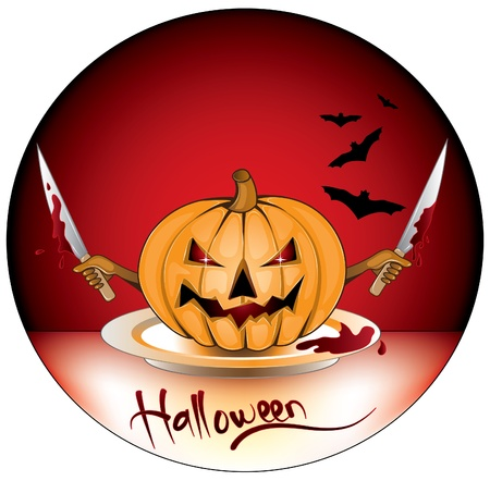 halloween pumpkin,with hands and knives